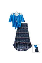 Beautees Girls Kids 2-Pc Solid Color Crochet Top & Skirt Set - Blue -Sz: M