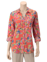 Hannah Women's Floral Print Roll Tab Top - Coral - Size: Large