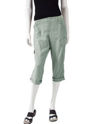 Gloria Vanderbilt Women's Tori Solid Color Linen Cargo Capris - Green - 10
