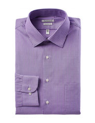 Van Heusen Men's Orchid Striped Print Shirt - Purple Multi - Size: 17 1/2