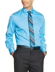 Van Heusen Men's Solid Color Fitted Lux Dress Shirt - Blue - Size:16-34/35