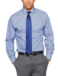 Arrow Men's Plaid Dress Shirt - Blue - Size: 16-34/35
