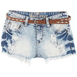 Wallflower Girl's Acid Wash High Waist Belted Shorts - Blue - Size: 3