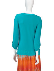 Ruby Rd. Women's Canyon Bead Embellished Mesh Trim Top - Coral