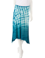 Gloria Vanderbilt Women's Tie-Dye Print Sharkbite Pull-On Skirt -Navy -P/L