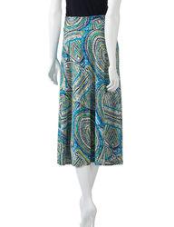 Valerie Stevens Women's Tonal Medallion Print Skirt -Blue - XL