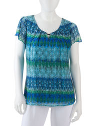 Women's Multicolor Abstract Print Flutter Top - Blue Multi - Size: Petites