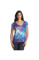 Chaus Women's Embellished Palm Print Top - Purple/Teal - Medium