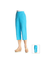 Alfred Dunner Ocean Drive Solid Capris - Sea Green - Size: 18