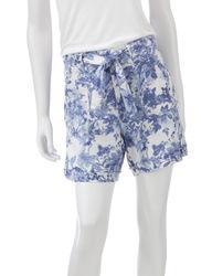 Gloria Vanderbilt Women's Floral Print Linen Shorts - Blue - Size: 16