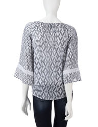 AGB Women's Tribal Print Peasant Top - Grey/White - Size: Small