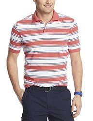 IZOD Men's Bar Stripe Pique Polo Shirt - Cranberry - Size: Medium