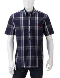 U.S. Polo Assn. Men's Navy Large Plaid Shirt - Blue - Size: Small