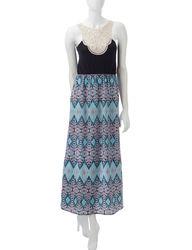 Pink Rose Girls Crochet Diamond Print Maxi Dress - Black / Pink - Sz: L