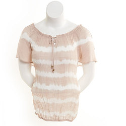 AGB Women's Short Sleeve Tie-Dye Peasant Top - Tan/White - Size: Large