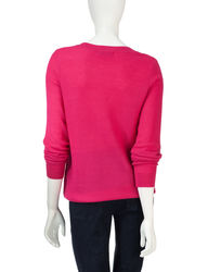 Cathy Daniels Women's Denim Honeycomb Knit Sweater - Pink - Size: Large
