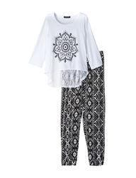 One Step Up Girls Kids Flower Top & Aztec Print Pants - Black - Size: 009