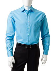 Van Heusen Men's Solid Color Lux Dress Shirt - Aqua - Size: 17 1/2 X 32/33