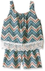 My Michelle Big Girls' All Over Printed Popover Romper with Lace Hem Detail, Multi, Medium