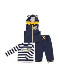 Boys Rock Kids 3-Piece Monkey Vest and Pant Set - Navy - Size: 12 months