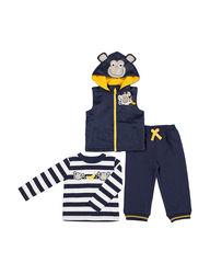 Boys Rock Kids 3-Piece Monkey Vest and Pant Set - Navy - Size: 18 months