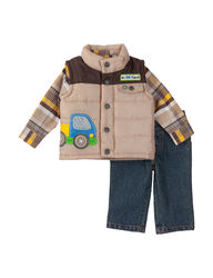 Boys Rock Baby 3-pc Plaid Shirt & Vest Set - Gold - 24 Months