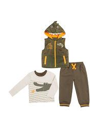 Boys Rock Baby 3-Pc Alligator Vest Pant Set - Olive - Size: 24 Months