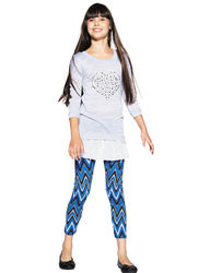 One Step Up Girls 2-Pc Heart Top & Chevron Print Leggings - Gray - Sz:7/8