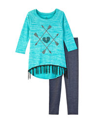 One Step Up Girls 2-Pc Sequins Heart Top & Leggings Set - Mint - 10 / 12