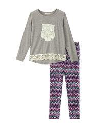 Self Esteem Girl's High Low Top & Leggingss Set - Multi - Size: Medium