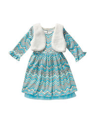 Youngland Girls 2-pc Chevron Pattern Dress Set - Blue/White - Size: 6