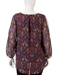 Zac & Rachel Women's Paisley Print Hi-Lo Top - Purple Multi - Size: 3X
