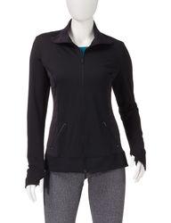 Hannah Women's Performance Striped Mesh Zip Jacket - Black - Size: XL