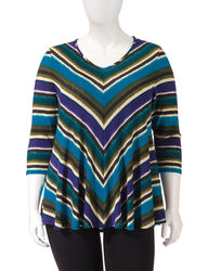 NY Collection Women's Angled Striped Print Trapeze Top - Blue - 2X