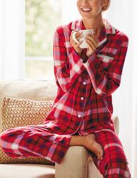 Hannah Women's Plaid Print Plush Pajama Set - Red/Purple - Size: Medium