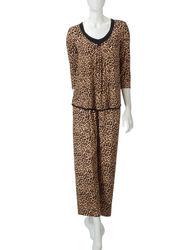 Rene Rofe Women's 2 PC Cheetah Print Pajama Set - Animal Print - Size: XL