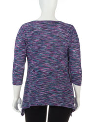 Zac & Rachel Women's Striated Sharbite Top - Purple Multi - Size: 2X