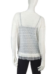 Hannah Women's Tulle & Lace Textured Knit Sweater - White - Size: Small