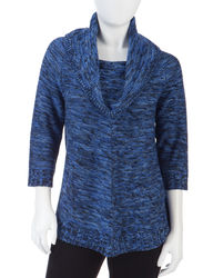 NY Collection Women's Marled Knit Cowl Neck Sweater - Blue/Black - Size:XL