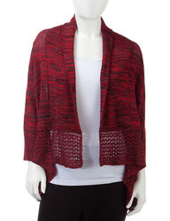 NY Collection Women's Marled Open Knit Cardigan - Red/Black - Size: Small