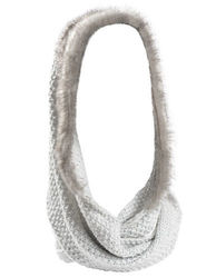 Collection 18 Women's Marled Knit Double Loop Faux Fur Hood Scarf - Grey