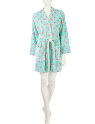Wishful Park Women's Dot Print Plush Robe - Blue Multi - Siize: L/XL