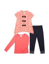 Little Lass 3-Piece Girls Sweater & Leggings Set - Coral - Size: 6X