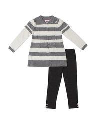 Little Lass Girls 2PC Sweater & Leggings Set - Grey - Size: 6