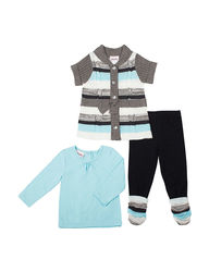 Little Lass 3-pc. Girls Striped Sweater Top & Leggings Set - 5-6X - Multi