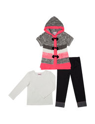 Little Lass Girls 3 Piece Striped Sweater & Leggings - Coral - Size: 6