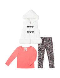 Little Lass Girls 3-Pc Fur Vest & Leggings Set - Ivory - Size: 6X