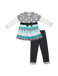 Little Lass Girl's 2 Pc Sweater & Leggings Set - Multi - Size: 2 Toddler