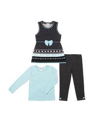 Little Lass Kids Girls Rule 3-pc Heart Print Sweater Set - Grey - Size: 5