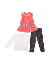 Little Lass Girls 3-Pc Fur Vest & Leggings Set - Coral - Size: 5